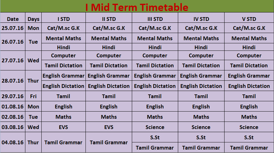i mid term time table