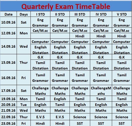 quartely-time-table